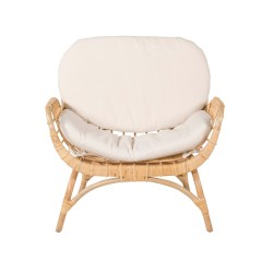 VENTURE DESIGN Moana loungestol - hvid hynde, natur bambus og rattan