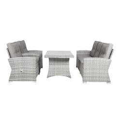 VENTURE DESIGN Padova recliner havesofa m. grå hynder - grå rattan og aluminium
