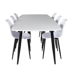 VENTURE DESIGN Polar Ellipse spisebordssæt, m. 6 stole - hvid MDF/sort metal hvid plastik/sort jern