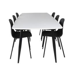 VENTURE DESIGN Polar Ellipse spisebordssæt, m. 6 stole - hvid MDF/sort metal/sort plastik