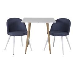 VENTURE DESIGN Polar spisebordssæt, m. 2 stole - hvid MDF/natur folie metal, blå stof/hvid metal