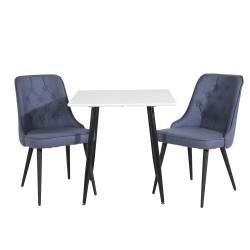 VENTURE DESIGN Polar spisebordssæt, m. 2 stole - hvid MDF/sort metal og blå stof/sort metal