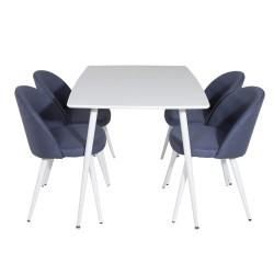 VENTURE DESIGN Polar spisebordssæt, m. 4 stole - hvid MDF/hvid metal og blå polyester/hvid metal