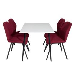 VENTURE DESIGN Polar spisebordssæt, m. 4 stole - hvid MDF/sort metal og rød polyester/sort metal