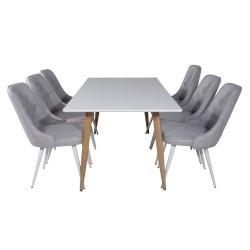 VENTURE DESIGN Polar spisebordssæt, m. 6 stole - hvid MDF/natur folie metal, lysegrå stof/hvid metal