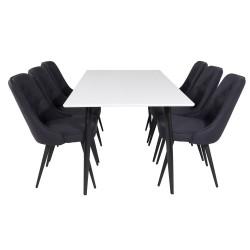VENTURE DESIGN Polar spisebordssæt, m. 6 stole - hvid MDF/sort metal og sort polyester/sort metal