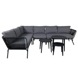 VENTURE DESIGN Roxo hjørnesofa sæt - grå hynder, sort polyester reb og aluminium