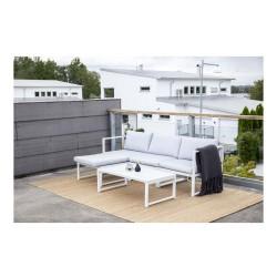 VENTURE DESIGN Salvador sofa havesæt m. hynder og bord - grå polyester og hvid aluminium