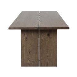 VENTURE DESIGN Slider spisebord, m. 2 tillægsplader - smoked egetræsfiner og smoked egetræ (170x95)