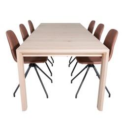 VENTURE DESIGN Slider spisebordssæt, m. 6 stole - hvidvasket egefiner/eg og brun PU/sort metal