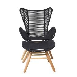 VENTURE DESIGN Tingeling loungestol, m. fodskammel - sort polyester reb og natur akacietræ