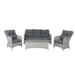 VENTURE DESIGN Vikelund sofa havesæt m. grå hynder - grå rattan og aluminium