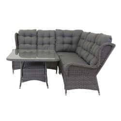VENTURE DESIGN Washington Flexi hjørne havesofa med grå hynder og glasbord - grå aluminium