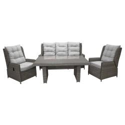VENTURE DESIGN Wembley recliner sofa havesæt - grå rattan