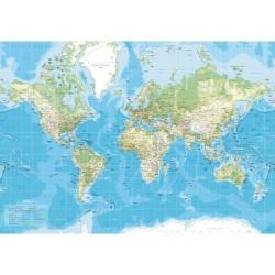 Verdenskort - Lærredstryk