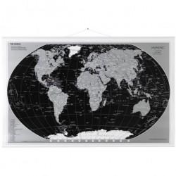 Verdenskort (sort/sØlv)