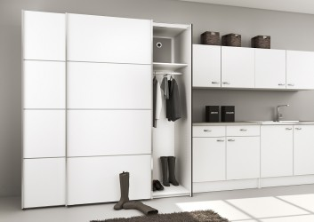 Verona antracit eg/hvidt garderobeskab