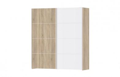 Verona garderobeskab - eg/hvid træ, 2 skydedøre