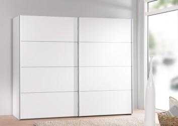 Verona garderobeskab - hvid træ, 2 skydedøre, m. hylder, bred