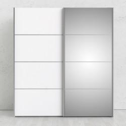 Verona garderobeskab - Hvidt MDF, m. spejllåge, 2 skydelåger