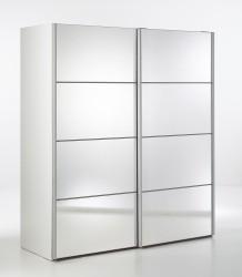 Verona garderobeskab - spejlglas og hvid træ, 2 skydedøre