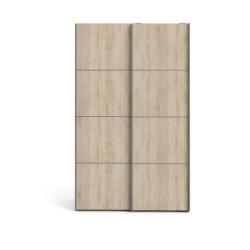 Verona garderobeskab - trøffelfarvet træ, 2 smalle skydedøre