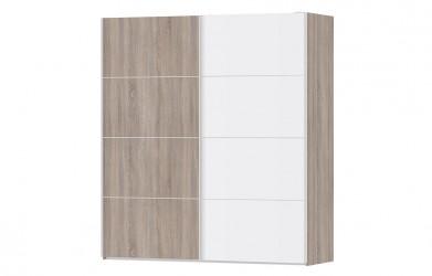 Verona garderobeskab - trøffelfarvet/hvid træ, 2 skydedøre