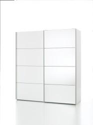 Verona hvidt garderobeskab med hylder og spejl
