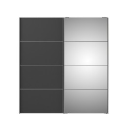 Verona Skydedørsskab - hvid/grå/spejlglas, m. 2 skydedøre