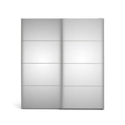 Verona Skydedørsskab - spejlglas og hvid træ, 2 skydedøre