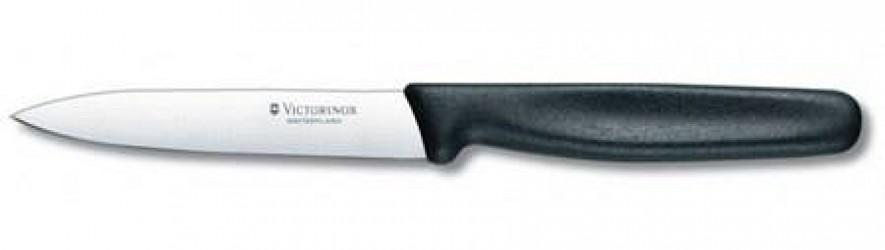 Victorinox Skrællekniv, 10 cm, blad m spets, med sort nylonhåndtag