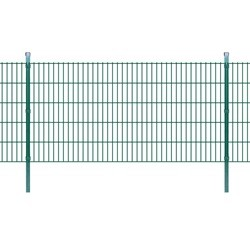 vidaXL 2D Garden Fence Panels & Posts 2008x1030 mm 12 m Green