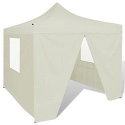 vidaXL Cream Foldable Tent 3 x 3 m with 4 Walls