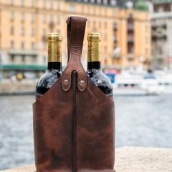 Vintaske til 2 flasker vin i læder