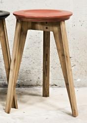 We Do Wood - Button Stool - Rustrød