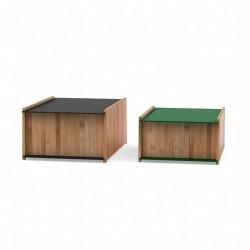 We Do Wood - Chest 1-2 i bambus - Sort/Mørk grøn