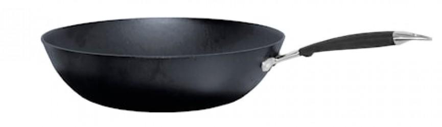 Wokpande Støbejern med Skaft, 32 cm