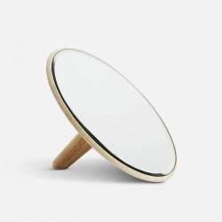 WOUD bordspejl stor - spejlglas og natur egetræ, rund (Ø26)
