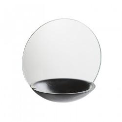 WOUD Poket vægspejl stor - spejlglas og sort egetræ, m. opbevaring