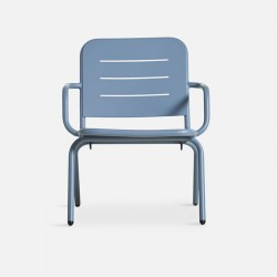 WOUD Ray loungestol - blå aluminium, m. armlæn