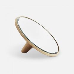 WOUD spejlstykke lille - spejlglas og natur egetræ, rund (Ø21)