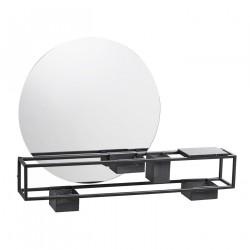 WOUD vægspejl box - spejlglas/sort marmor/stål, m. 4 opbevaringsbokse