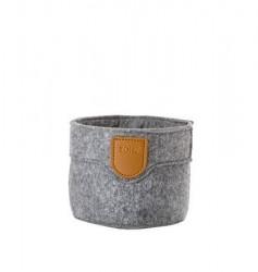 Zone Denmark Kurv - Grey - Stk. - Craft - Filt - PU - D 10,0cm - H 8,0cm - Hangtag