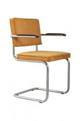 Zuiver - Ridge Spisebordsstol m/arm - Gul fløjl