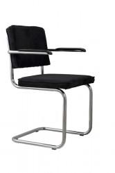 Zuiver - Ridge Spisebordsstol m/arm - Sort fløjl