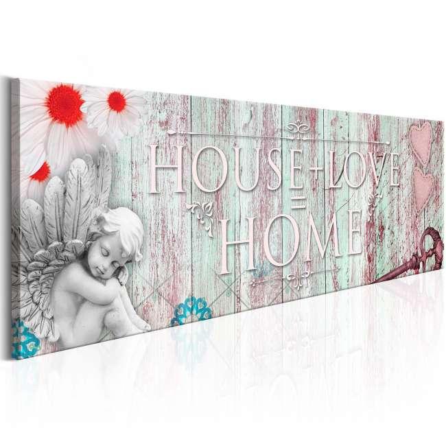 Priser på Artgeist billede - Home: House + Love, på lærred 150x50