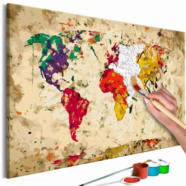 Priser på ARTGEIST DIY Verdenskort Colour Splashes maleri - hvidt lærred, inkl. maling og 2 pensler (H: 40cm)