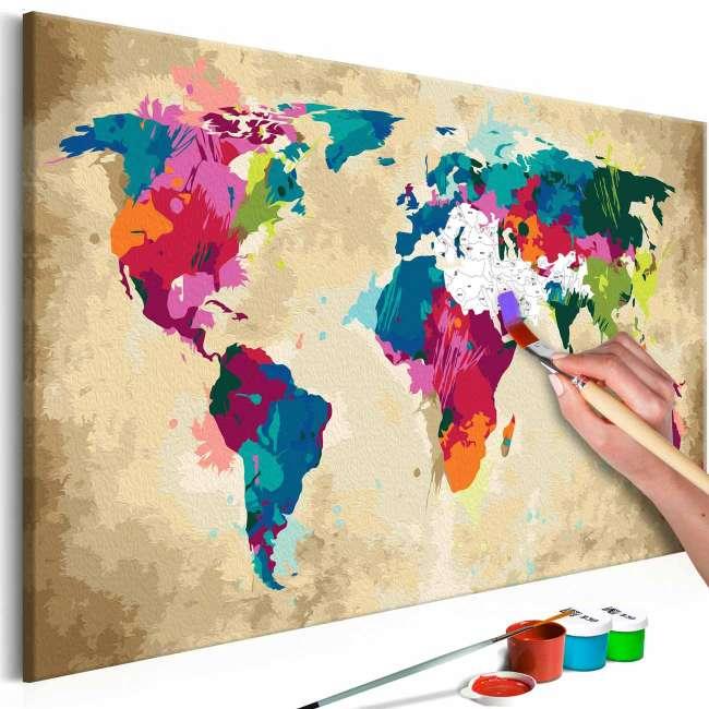 Priser på ARTGEIST DIY Verdenskort Colourful maleri - hvidt lærred, inkl. maling og 2 pensler (H: 40cm)