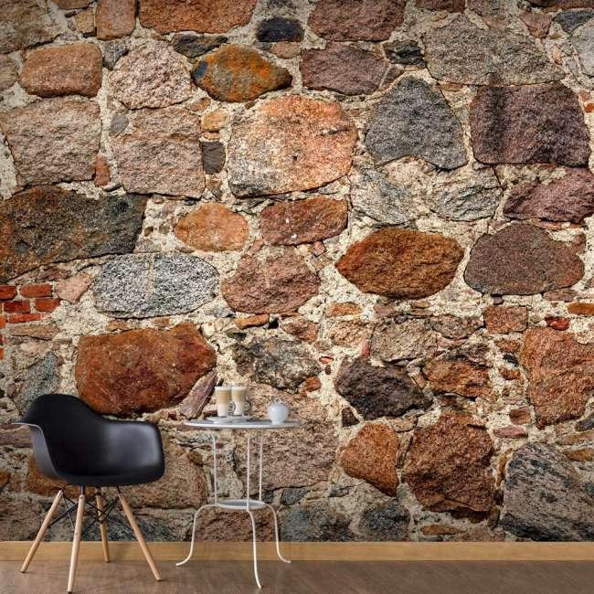Priser på Artgeist fototapet - Stony Artistry, mursten print (280x500) 400x280
