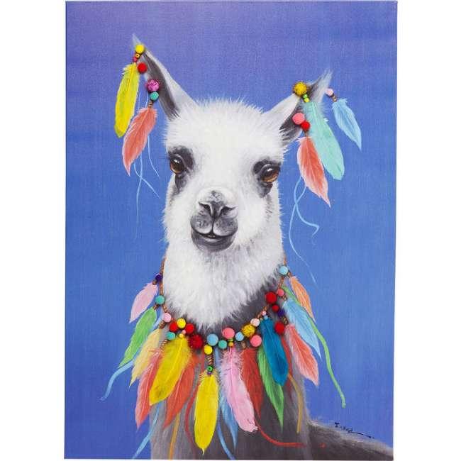 Priser på Kare Design Billede Touched Lama Pom Pom 100 x 70 cm